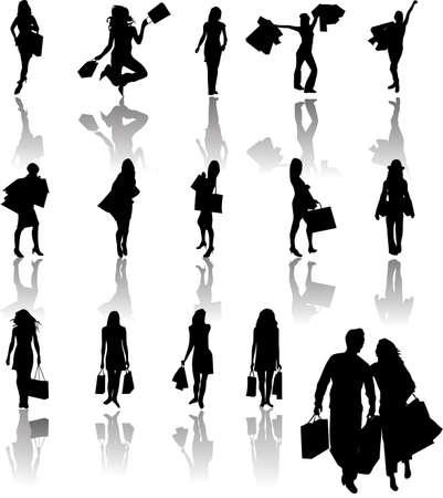 shopper: Silhouetten von M�dchen in den Warenkorb