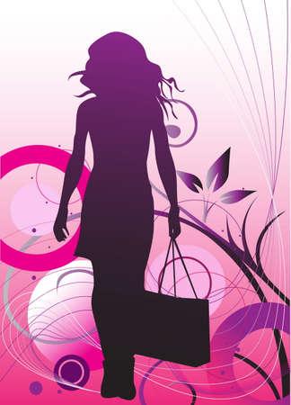 Silhouette of girl in shopping Stock Vector - 7071124