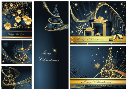 Merry Christmas and Happy New Year collection Stock Vector - 7159874