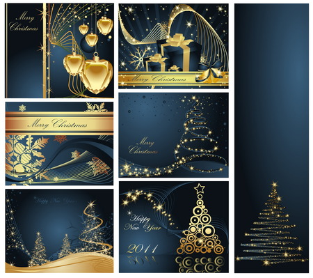 Merry Christmas and Happy New Year collection Stock Vector - 7159883