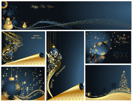 Merry Christmas and Happy New Year collection Stock Vector - 7368646
