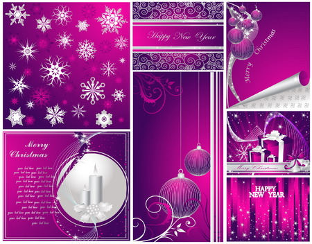 Merry Christmas and Happy New Year collection Stock Vector - 7700216