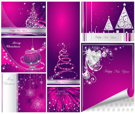 Merry Christmas and Happy New Year collection Stock Vector - 7856211