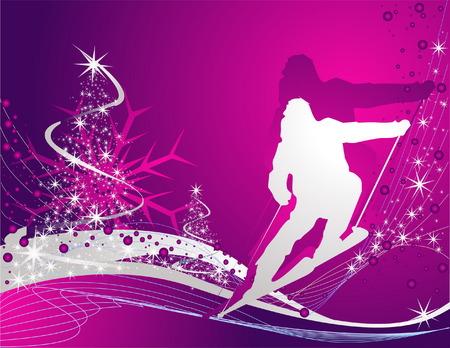 Ski sport background Vector