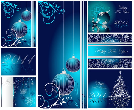 Merry Christmas and Happy New Year collection Stock Vector - 7994379