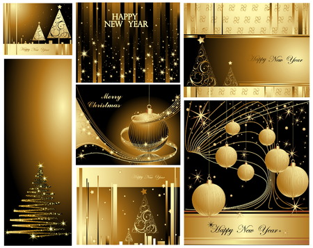 Merry Christmas and Happy New Year collection Stock Vector - 7994380