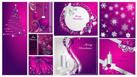 Merry Christmas and Happy New Year collection Stock Vector - 7994386