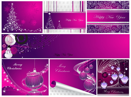 Merry Christmas and Happy New Year collection Stock Vector - 7994266