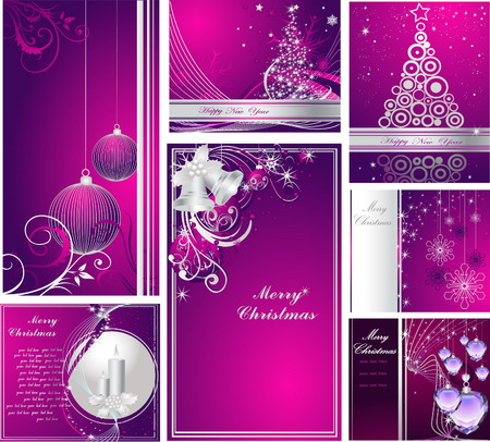 Merry Christmas and Happy New Year collection Stock Vector - 7994385