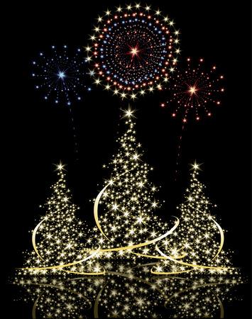 Weihnachtsbaum mit Feuerwerk