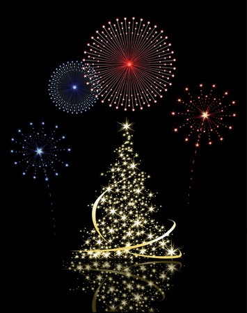 Christmas tree with fireworks