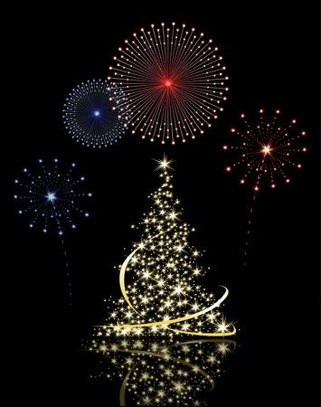 Weihnachtsbaum mit Feuerwerk  Illustration