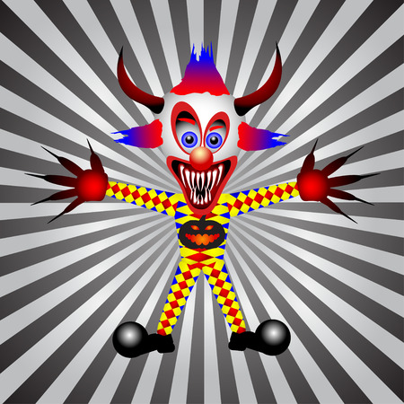 Halloween evil clown on white and black ray background Vector