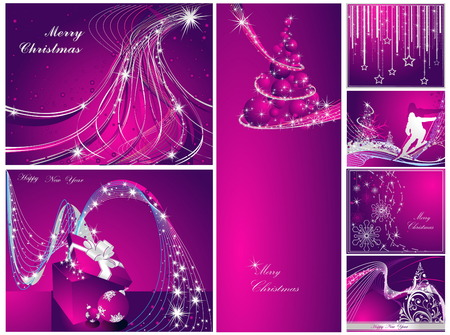 Merry Christmas and Happy New Year collection Stock Vector - 8310488
