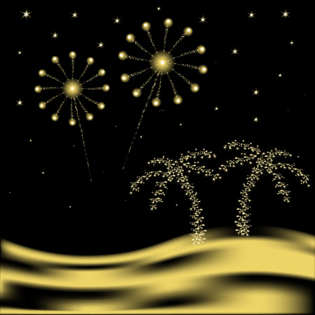 palm tree with fireworks in desert Vector