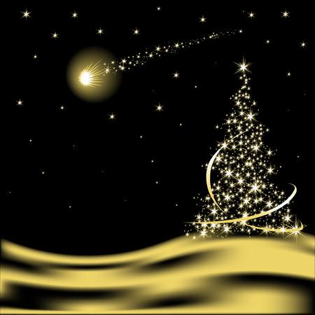 Vektor-Weihnachtsbaum mit Sinkende Stern in der Wüste