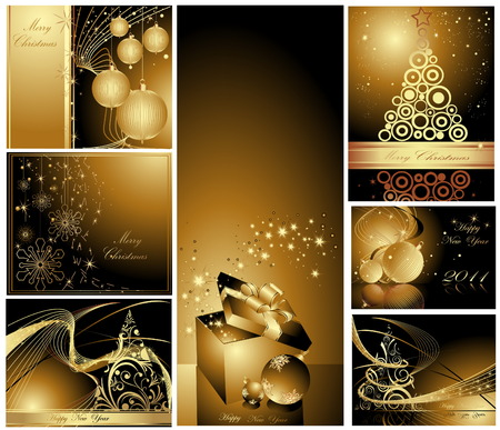 Merry Christmas and Happy New Year collection Vector