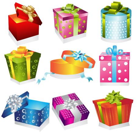 empacar: Ilustraci�n de regalos diferentes Vectores