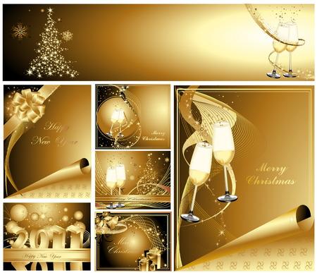 Frohe Weihnachten und glückliches neues Jahr-Auflistung Illustration