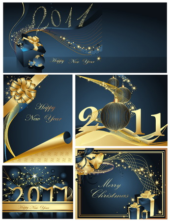 Merry Christmas and Happy New Year collection Stock Vector - 8386739
