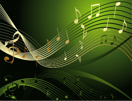 green and gold: Background with music notes Illustration