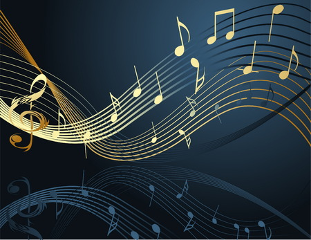 Background with music notes Illustration