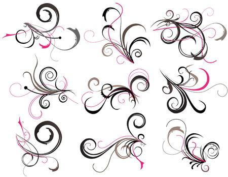 floral swirls: Abstract tattoo Illustration