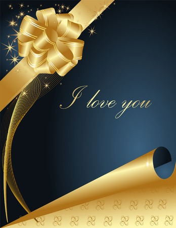 Valentines greeting card with  gold and blue hearts Vector