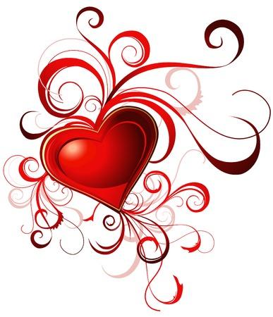 붉은 마음과 라인 발렌타인 인사말 카드