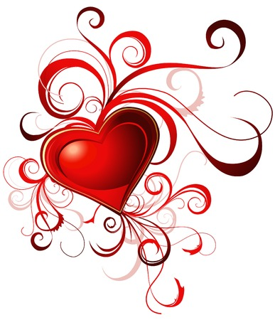Valentine's greeting card with red heart and lines Stock Vector - 8755602