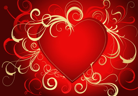 Valentines greeting card gold and red Vector