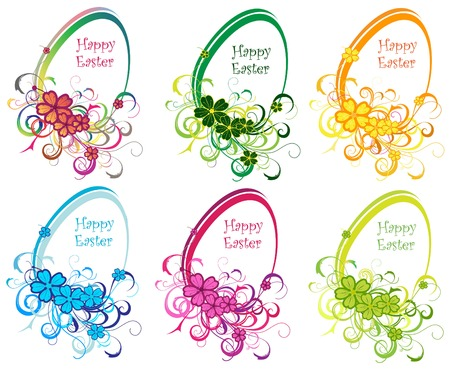 Colored Eastern eggs background with lines, vector illustration Vector