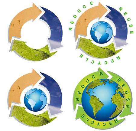 Collectie van schoon milieu - conceptuele recycling symbool