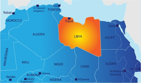 2d map: Political map of North Africa with Libya isolated