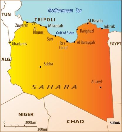Carte politique de l'Afrique du Nord avec la Libye isolées Vecteurs