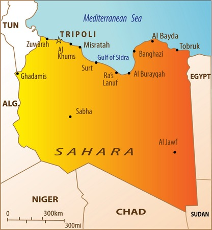 Political map of North Africa with Libya isolated Vector Illustration