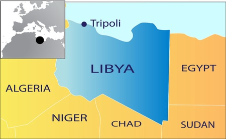 libya: Political map of North Africa with Libya isolated
