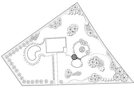 Plan van landschap en tuin zwart en wit
