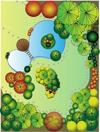 baum pflanzen: Farbige Landschaftsplan mit See und Br�cke Illustration