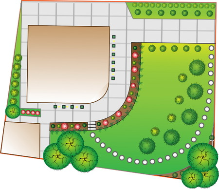 Colored Landscape  Plan with lake and bridge Illustration