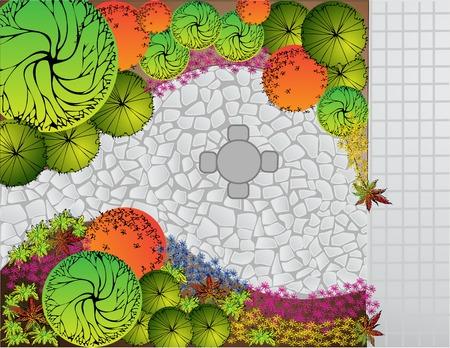 Farbige Landschaftsplan mit Tisch und Stühlen Illustration