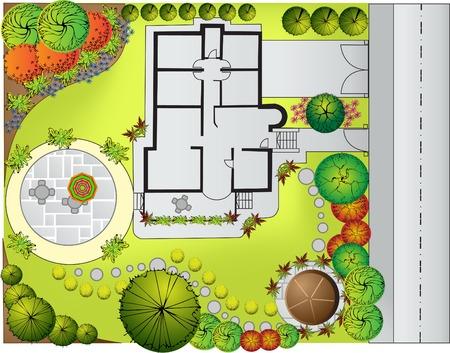 Plan de paisaje y jardín