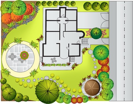 architect drawing: Plan of Landscape and Garden  Illustration