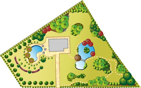 landscaping: Colored Plan of garden