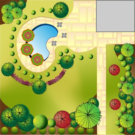 Plan of Landscape and Garden  Vector