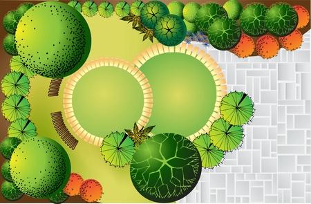Plan van landschap en tuin