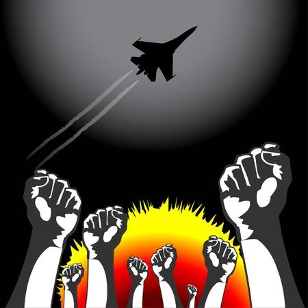 War airplane bombarding ground, people resist