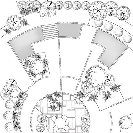 Plan of Landscape and Garden Stock Vector - 9360635