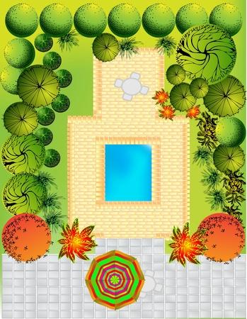 Plan of garden Stock Vector - 9465295