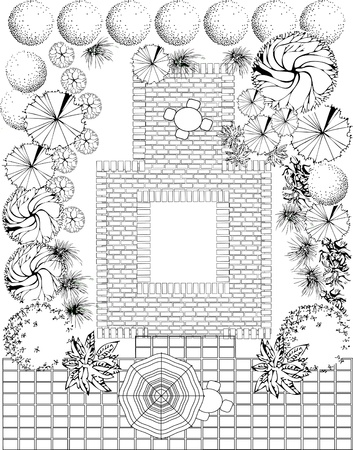 architect drawing: Plan of garden